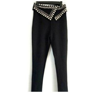 🌸 Black Stud Fold Over Waist Stretch Pants